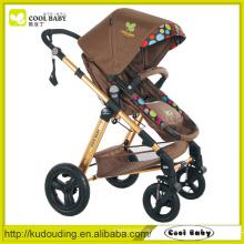 Cool bebê fabricante carrinho de criança ajustável do bebê apoio para os pés assento reversível ar inflado rodas giratórias com suspensão
