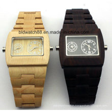 Quality Mens Dual Movement Wooden Wrist Watches