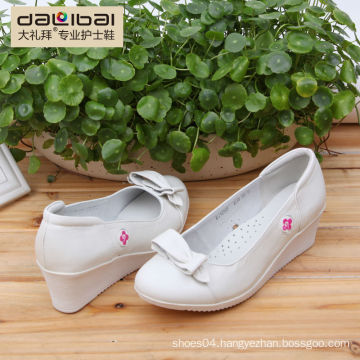 2015 Cheap genuine leather hospital white nurse shoes with wedge heels