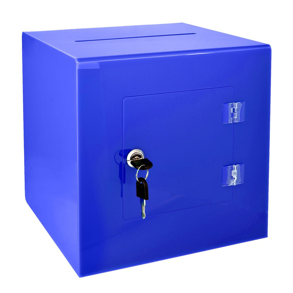 Acrylic Suggestion Box With Lock Blue