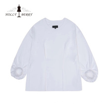 New Fashionable White Basic Model Stylish Blusas Top