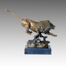 Tier Statue Löwe Rushing Bronze Skulptur, JL Gerome Tpal-103