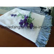 Woven Herringbone Weave Cotton Throw with Tassels
