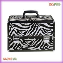 Black zebra padrão rígido shell caso de beleza de alumínio (saccam135)