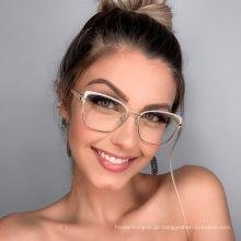 Armação de óculos moderna, lentes planas de duas cores, femininas de metal Amazon anti-luz azul, pode ser equipada com vidro para miopia