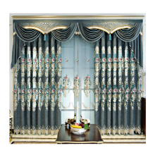Amazon select supplier luxury window curtains bedroom european style embroidered Polyester window curtain