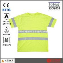 En11612 alta visibilidade modacrílico Fr Short Sleeve T a camisa de algodão
