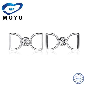 Pendiente de plata esterlina doble D de joyería turca