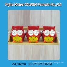 Cute tres búhos en forma de frasco de almacenamiento de cerámica para la cocina