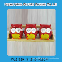 Cute three owls shaped ceramic storage jar for kitchen