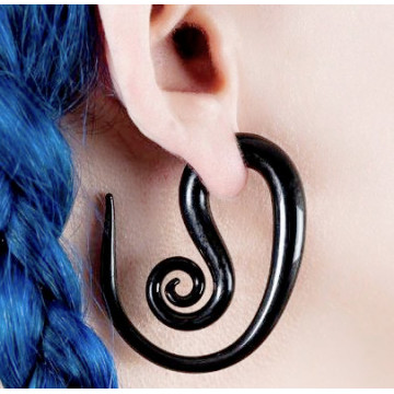 Black Pyrex Glass Ear Spiral Hanger Tapers