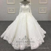 Marfim 3d flor elegante feito à mão bola vestido com decote em v mangas compridas vestido de noiva