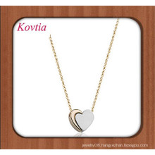 simple design two-tone locking heart shape necklace