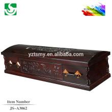 Caixão roxo de madeira lustrosa de antigos padrões esculpidos