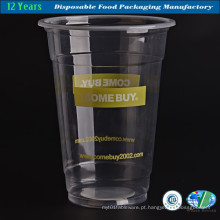 Copo de bebida de plástico transparente descartável com tampa