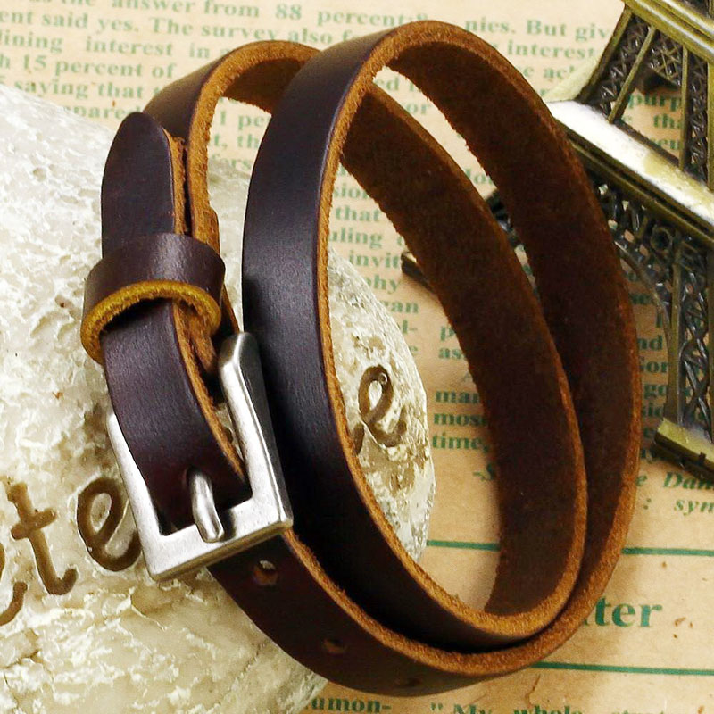 Brown Leather Bracelet Womens