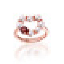 Prong Natural Perfectly Round Freshwater Pearls Red Garnet Heart Rings S925 Sterling Silver for Women Engagement Jewelry