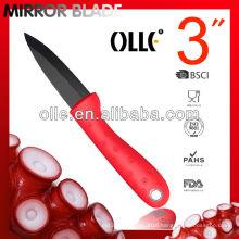 3 Inch Ceramic Black Mirror Blade Paring Color Handle Knife