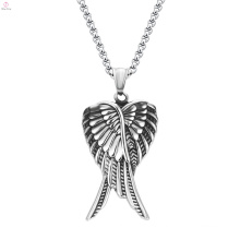 Hip Hop Style 316L Stainless Steel Jewelry Silver Angel Wing Pendant Necklace