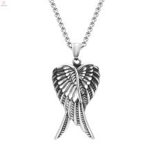 Стиль хип-хоп 316L Нержавеющая сталь ювелирные изделия серебро Ангел крыло Кулон ожерелье