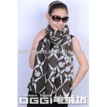 Ladies' skeleton printed 100% cashmere scarf/shawl