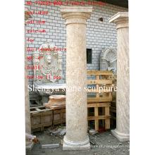 Superfície polida antiga pedra escultura coluna (SY-C009)