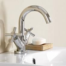 Misturador de faucet de bacia de dois punhos com material de latão
