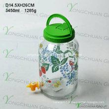 Pot de 3000ml de gros pot de verre avec couvercle de poignée en plastique de robinet
