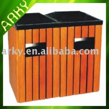 Outdoor Wooden Double Dust Bins