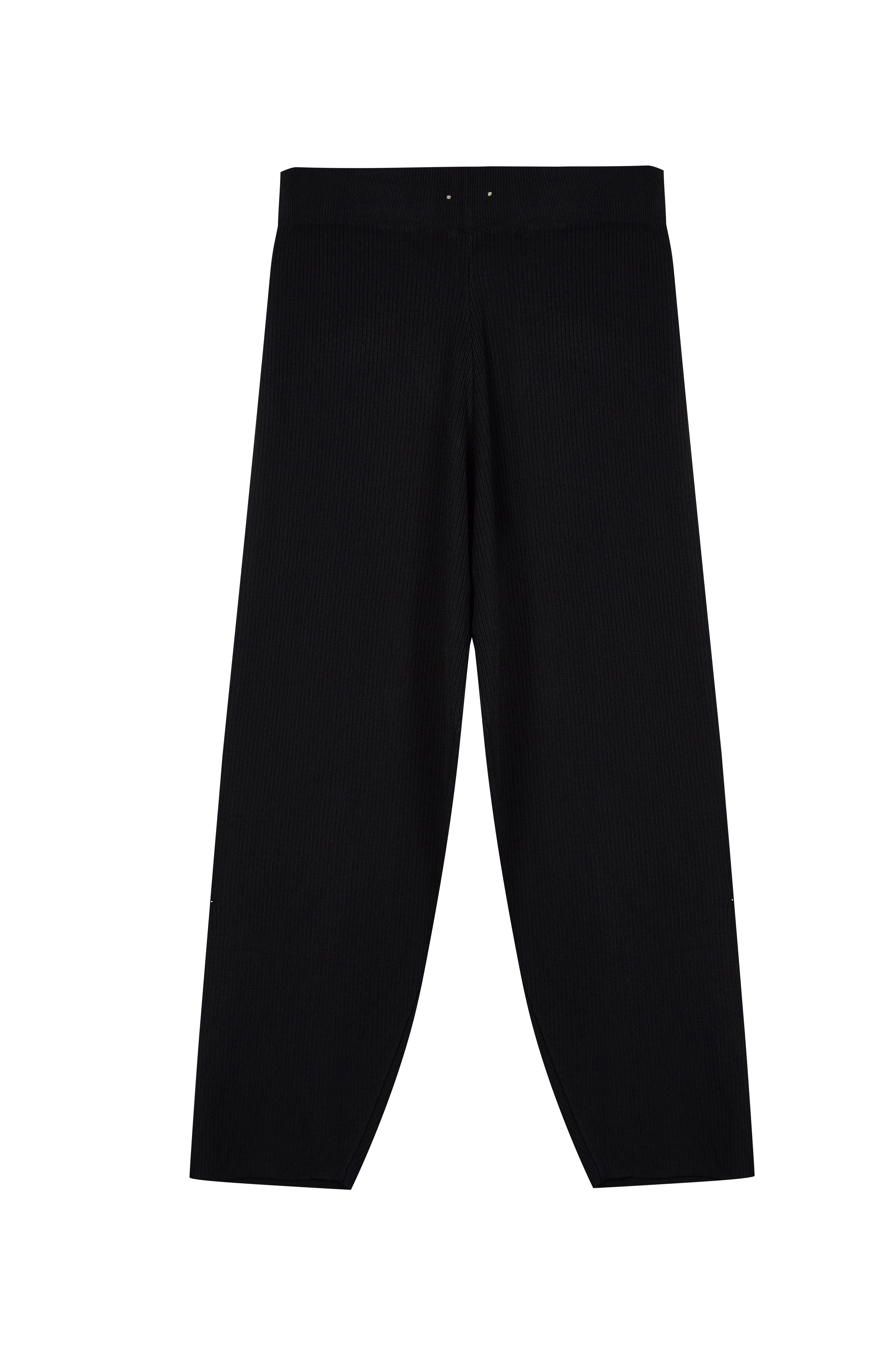 Women's Elastic Waist Wide Pants Ribbed Knit Trousers