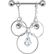 Kristalline kreisförmige Teardrop-Trilogie Brustwarze Ring