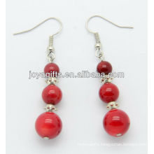 Red coral with alloy beads earring