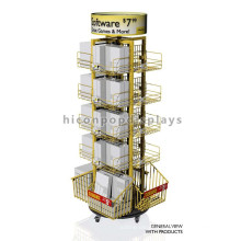 Merchandising Retail Store Fixtures Free Standing Movable Comic Book Gift Card Toy Display Rack