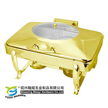 Marco de buffet de platos chaifng dorado oblongo