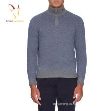 1/4 cremallera jersey de lana de cuello alto para hombres