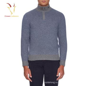 1/4 на молнии с высоким воротником шерстяной пуловер для мужчин