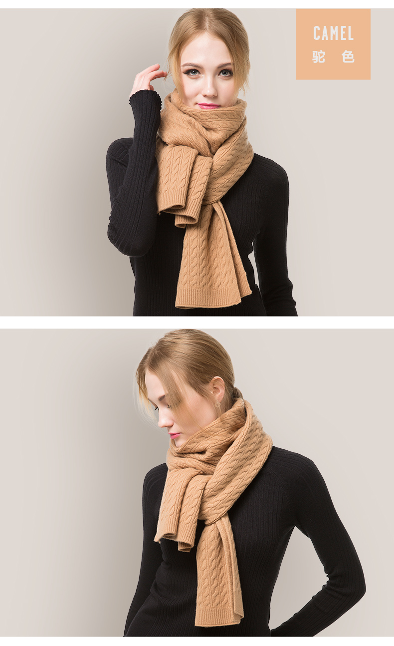 Pure cashmere knitted scarf -5