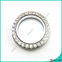 Medalhão de vidro redondo 30 milímetros sem pingente de loop (fl16041945)
