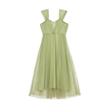 Damenmode Mint Pailletten Mesh Kleid