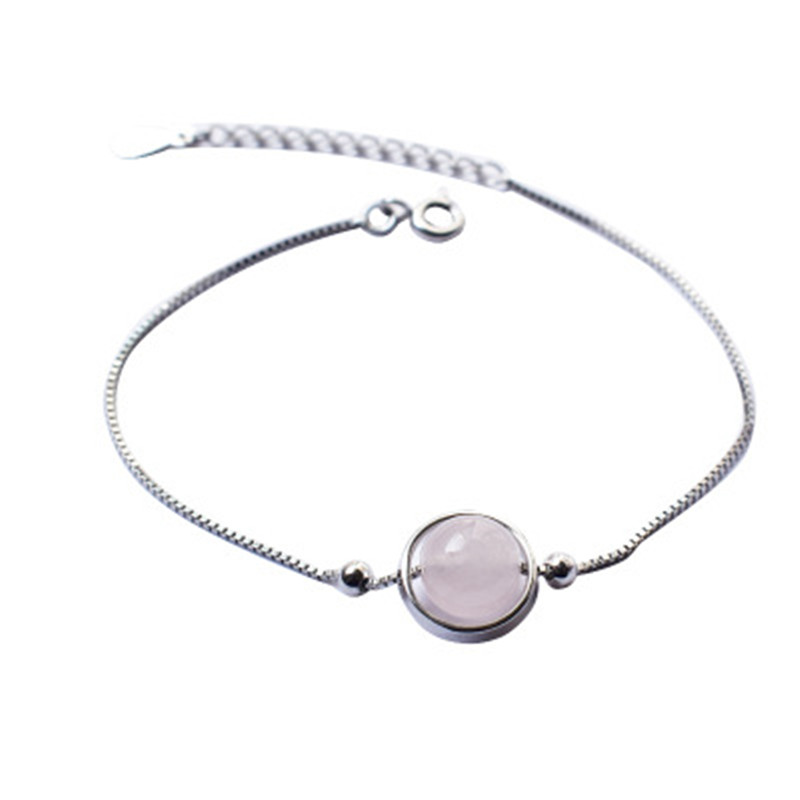 S925 Sterling Silver Geometric Circle Pink Crystal Bracelet