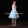Vestido de la manera del verano 2017 elegante 2 unids set profundo v cuello azul claro vestidos de dama de honor baratos para la boda