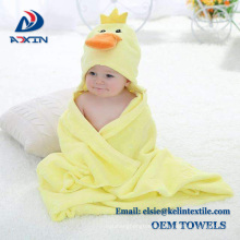 yellow duck design 100% terry cotton baby hooded towel wholesale