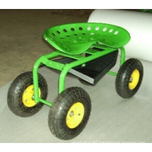 Garden Tool Cart for Sitting with Pneumatic Wheel Tc4501