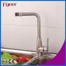 Fyeer Nickle Brushed Mezclador de lavabo de cocina con boquilla giratoria