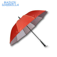Haixin Brand Name Cheap Promotional Yellow Piping Red Custom Logo Advertising Straight Stick Umbrella with Piping Factory China