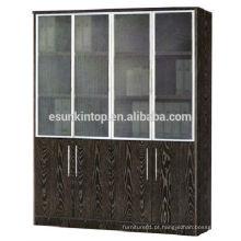 Prateleira de porta de vidro cor de carvalho escuro, móveis para escritórios à venda (KB844-1)