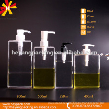 250/400/500/800ml plastic pump rectangle shape bottle