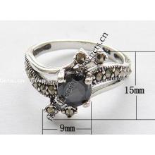 2015 Gets.com thailand Sterling Silber schwarz Leder Fingerringe