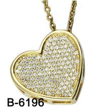Pendentif argenté précieux en zircon 925 en argent sterling (B-6190)