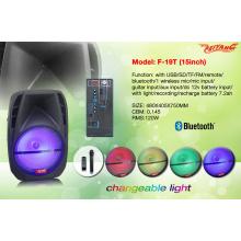 Bluetooth portátil portátil de plástico de la carretilla 15 pulgadas / FM / USB / SD / F19t remoto